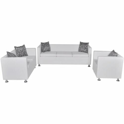 Ensemble canapé 3 places, canapé 2 places et Fauteuil en cuir blanc