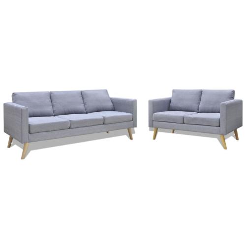 Ensemble canapé 2 places et canapé 3 places en tissu gris clair