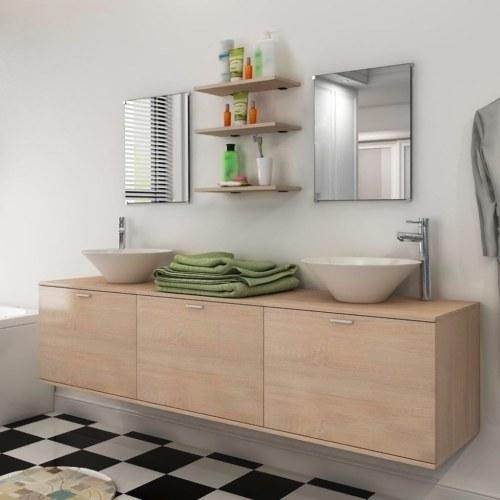 Ensemble de salle de bain double vasque à poser - Beige