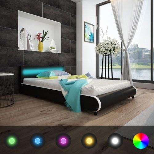140 cm letto in pelle sintetica con LED testata materasso +