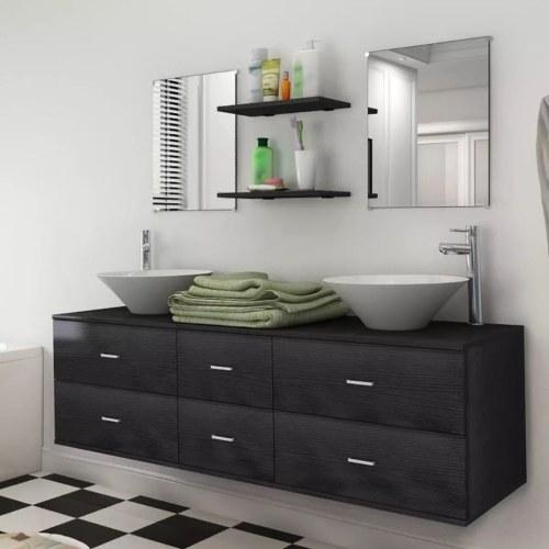 Meuble de salle de bain double vasque - Noir