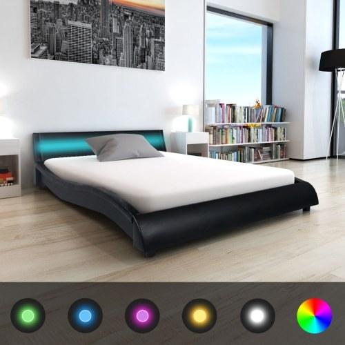 Letto con LED e materasso 140 x 200 cm Pelle artificiale nera