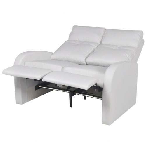 two-piece 2 + 3 seater reclining armchair artificial leather white
