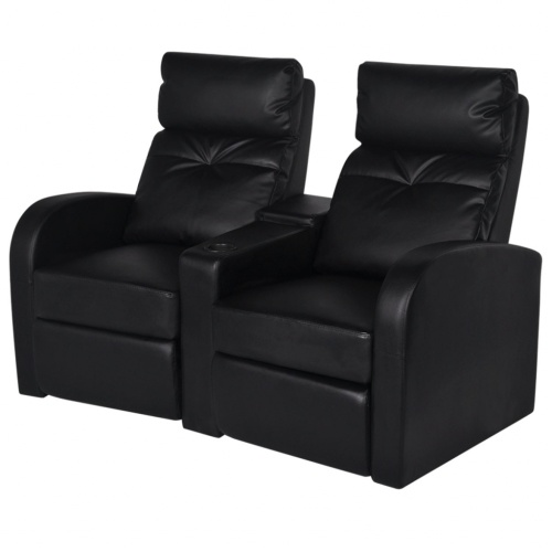2 + 3-seat led reclining armchair artificial leather black