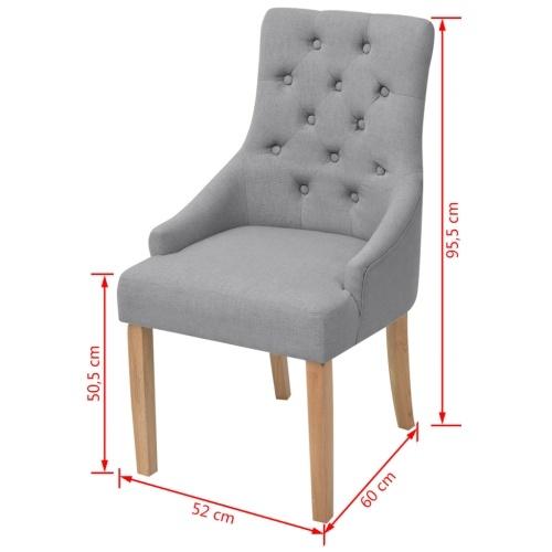 Обеденные стулья 6 шт. Дубовая древесина Ткань Светло-серый