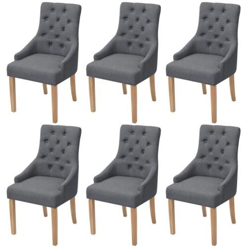 Обеденные стулья 6 шт. Дубовая древесина Ткань Темно-серый