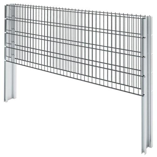 2D Ensemble de clôture de gabion 2008 x 830 mm 18 m Gris