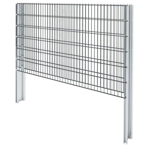2D Ensemble de clôture de gabion 2008 x 1230 mm 14 m Gris