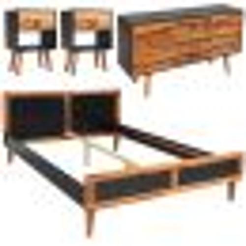 Мебель для спальни 4 шт. Дерево Acacia 180 x 200 см