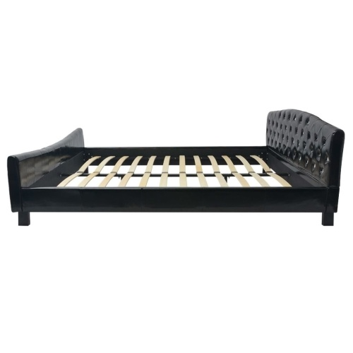 double bed with mattress 180 x 200 cm artificial leather black