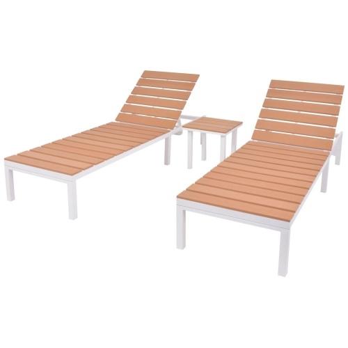 Lot de 2 chaises longues avec Table Aluminium - Blanc et Marron