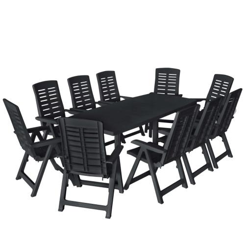 Ensemble de salle à manger de jardin 11pcs Plastique Anthracite