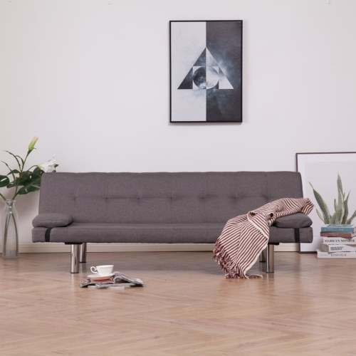 Festnight Sofa Bed Multipurpose Clic Clac Bench with Two Pillows Taupe Polyester