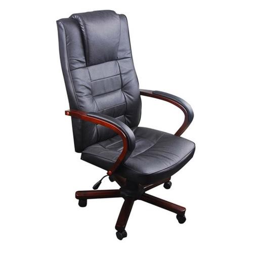 Noir Chaise de bureau en cuir artificiel réglable en hauteur