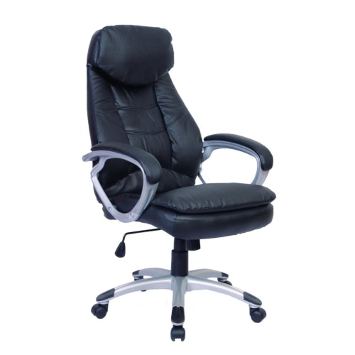 Schwarz Bürostuhl aus echtem Leder