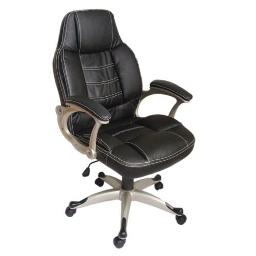 Noir Chaise de bureau à haut dossier en cuir véritable