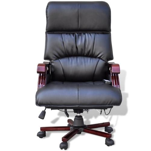 Negro Silla de oficina masaje ajustable de cuero real superior