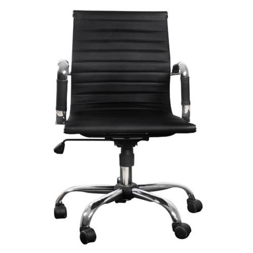 Sedia in pelle nera dell'ufficio
