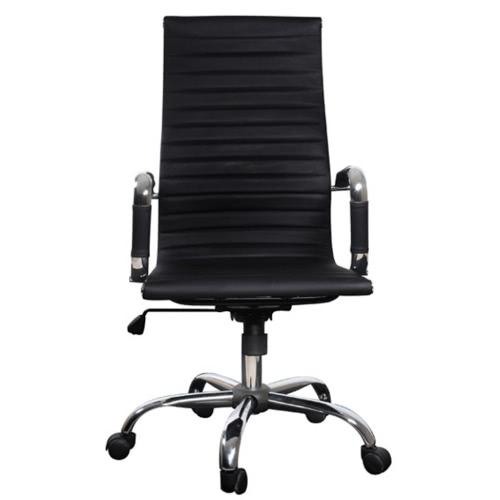 Cuero negro silla de oficina con respaldo alto