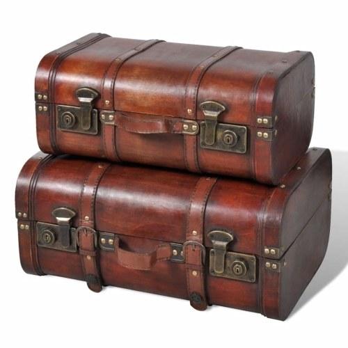 Wooden Treasure Chest 2 pcs Vintage Brown