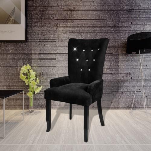 Salle à manger chaise en bois noir garniture velours noir