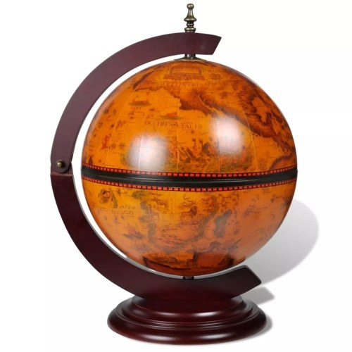 Festnight Tabletop Globe Bar Wine Stand 16th Ccentury Wood for Wine, Spirits, Beverages Stemware15 x 13 x 18.9 inch (l x w x h)