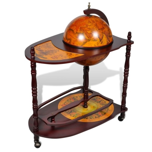 Globe Bar Wine Stand Wood Freestanding