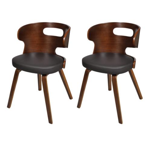 Ensemble de 2 chaises en cuir à manger Structure en bois courbé brun