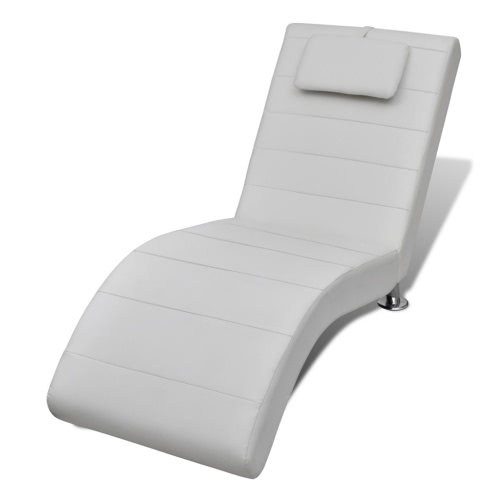 Chaise Longue White 2-pin with Headrest