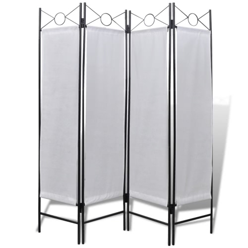4-Panel Room Divider Privacy Folding Screen White 5' 3