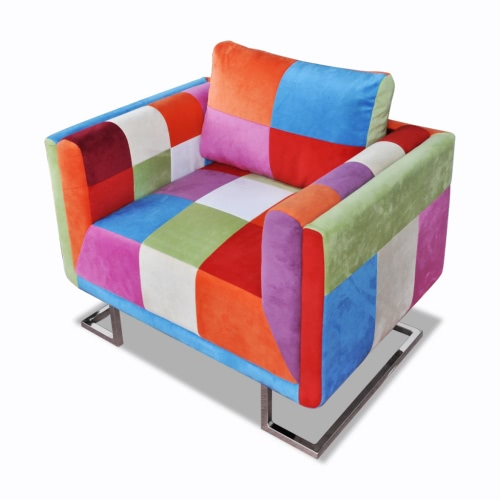Armchair Cube Patchwork With chrome legs