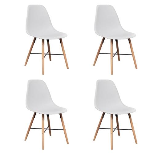 4 White Armless Esszimmerstuhl mit Hartholz-Beine
