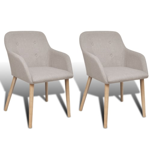 Set of 2 oak dining chairs with armrests beige