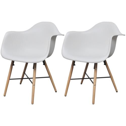 2 Blanco Silla de comedor con brazos y piernas de madera de haya