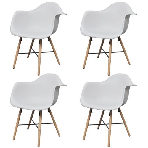 4 White Dining Stuhl mit Armlehnen und Buchenholz Beine
