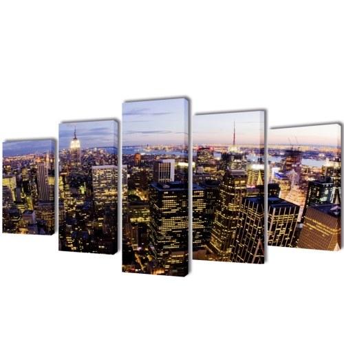 Parete Tela stampa Impostare gli uccelli Eye View di New York Skyline 39