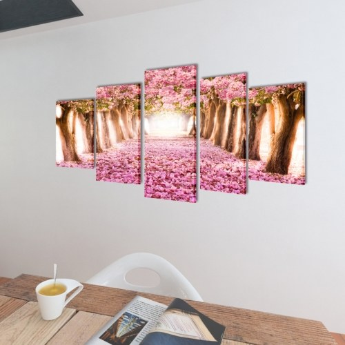 "Canvas Wall Print Set Cherry Blossom 39"" x 20"""