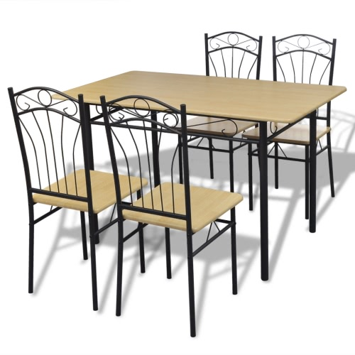 Juego de Comedor 1 mesa con 4 sillas marrones claros