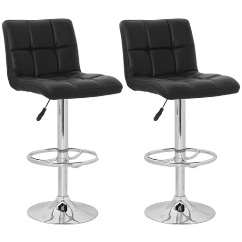 Set of 2 Black Armless Bar Stool with High Backrest