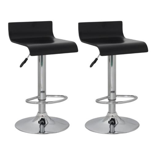 Conjunto de 2 Negro taburete de barra del asiento de madera con respaldo bajo