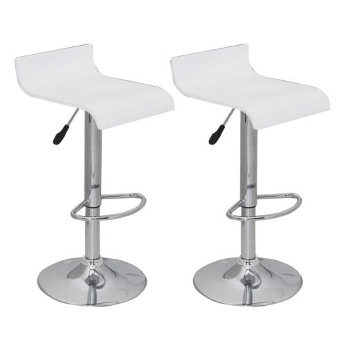 Conjunto de 2 Blanco taburete de barra del asiento de madera con respaldo bajo