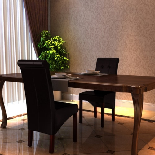 2 Scorrere posteriore del cuoio artificiale in legno Dining Chair Marrone