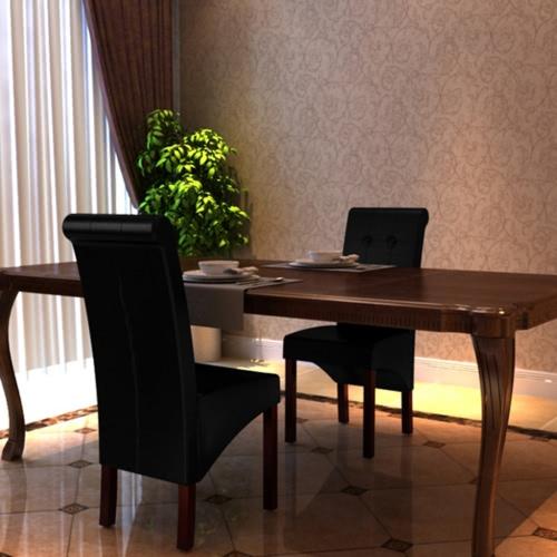 2 Scorrere posteriore del cuoio artificiale in legno Dining Chair nero