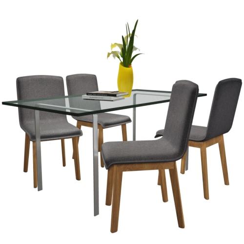 Conjunto de 4 Tela gris oscuro roble silla de comedor cubierta