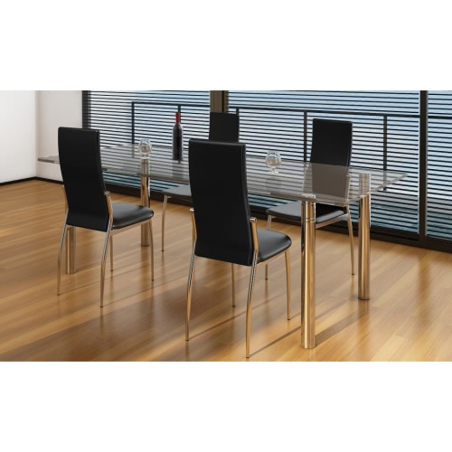 4 pcs Artificial Leather Iron Black Dining Chair