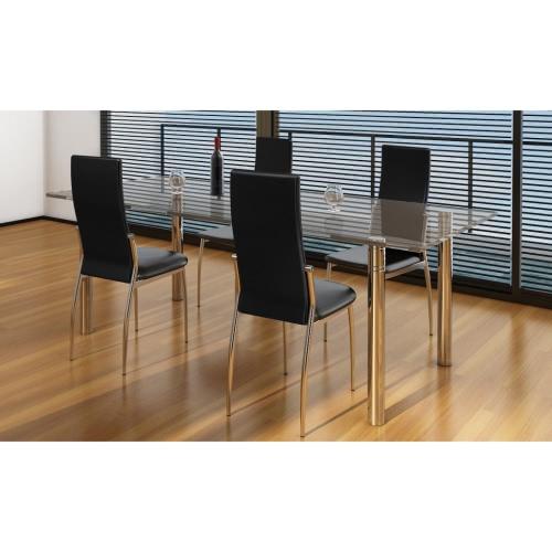 4 piezas de cuero artificial silla de hierro Negro comedor
