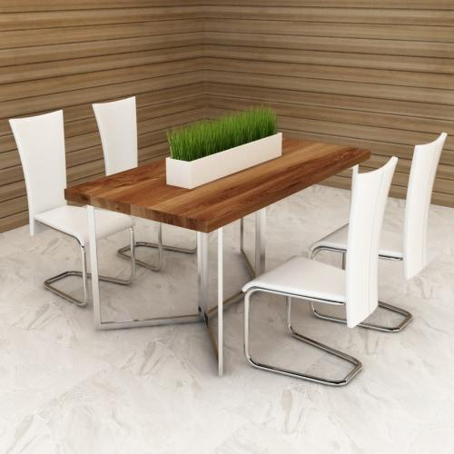 Blanco 4 sillas de cuero artificial de restauración