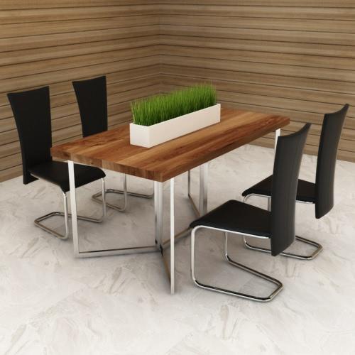 4 Negro artificiales sillas de cuero de restauración