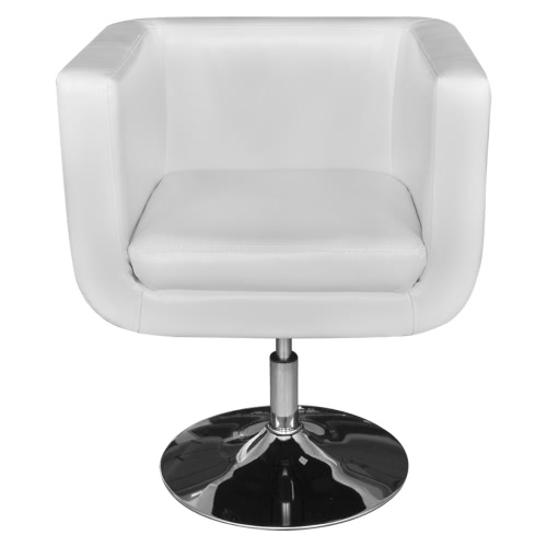 White Adjustable Arm Chair with Chrome Base
