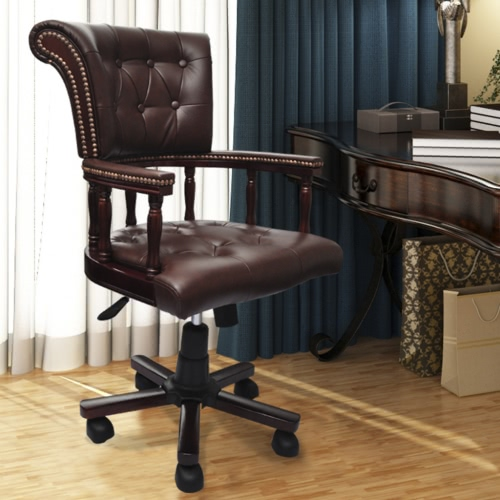 Chair Brown vera pelle Chesterfield Capitani girevoli per ufficio